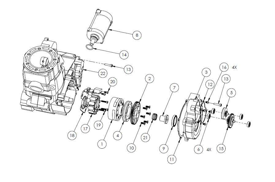 HON02- CR500 Electric starter parts list